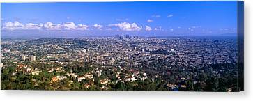 Los Angeles Skyline From Mulholland Canvas Print by Panoramic Images