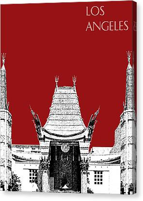 Los Angeles Skyline Graumans Chinese Theater - Dark Red Canvas Print by DB Artist