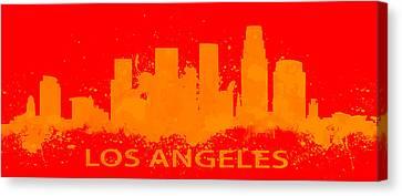 Los Angeles Skyline Paint Splatter Canvas Print