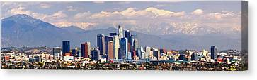 Los Angeles Skyline With Mountains In Background Canvas Print by Jon Holiday