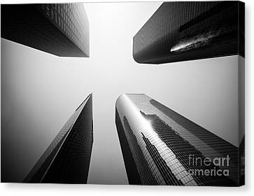 Los Angeles Skyscraper Buildings In Black And White Canvas Print by Paul Velgos