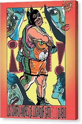 Los Cuatro Amores De Luchador Gato Rojo Diablo Canvas Print