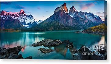Los Cuernos Panorama Canvas Print by Inge Johnsson