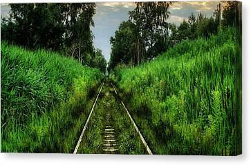 Train Tracks Canvas Print - Lost And Found by Marvin Blaine