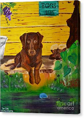 Canvas Print featuring the painting Lost Ball by Denise Tomasura