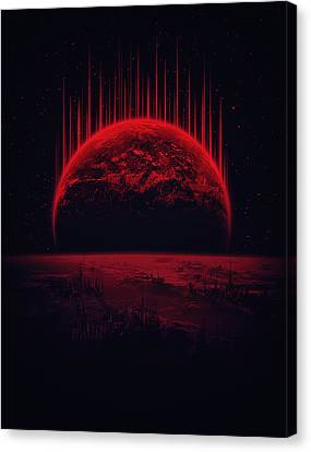Deep Space Canvas Print - Lost Home Colosal Future Sci Fi Deep Space Scene In Diabolic Red by Philipp Rietz