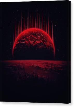 Lost Home Colosal Future Sci Fi Deep Space Scene In Diabolic Red Canvas Print by Philipp Rietz