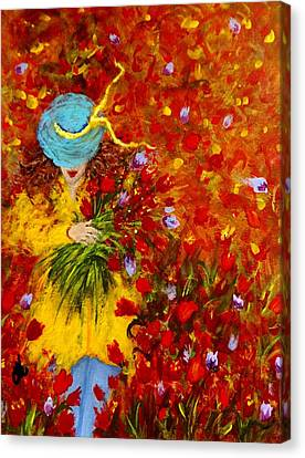 Lost In A Field Of Tulips.. Canvas Print by Cristina Mihailescu