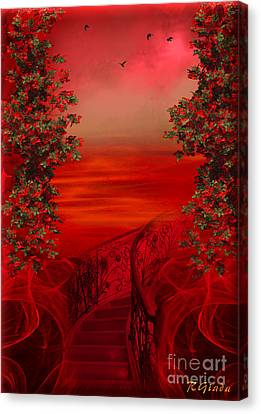 Lost In Red - Surreal Art By Giada Rossi Canvas Print by Giada Rossi