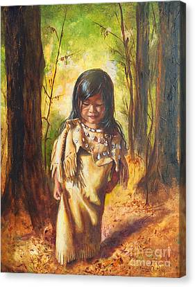 Canvas Print featuring the painting Lost In The Woods by Karen Kennedy Chatham