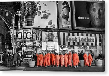 Lost In Times Square Canvas Print by Lee Dos Santos