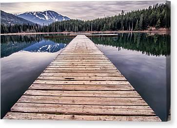 Mountain Reflection Lake Summit Mirror Canvas Print - Lost Lake Dock by James Wheeler