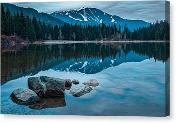 Mountain Reflection Lake Summit Mirror Canvas Print - Lost Lake by James Wheeler