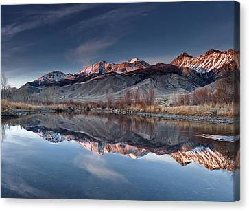 Lost River Mountains Winter Reflection Canvas Print by Leland D Howard