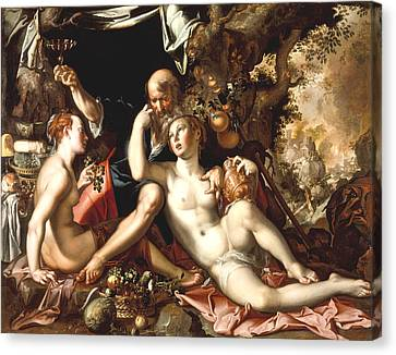 Lot And His Daughters Canvas Print by Joachim Antonisz Wtewael