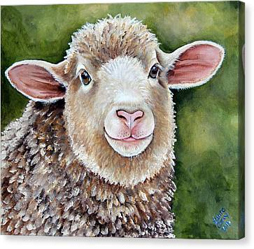 Lottie   A Spring Lamb Painting Canvas Print by Laura Carey