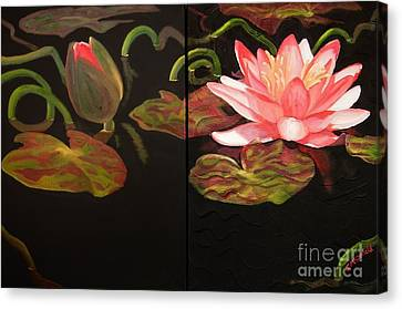 Lotus Bud To Bloom Canvas Print by Janet McDonald