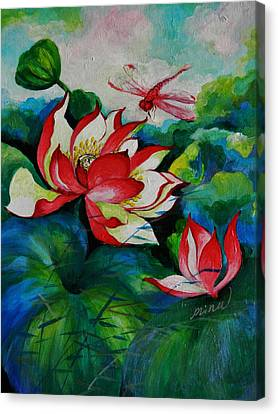 Lotus Dragon Fly A Canvas Print by Min Wang