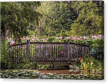 Canvas Print featuring the photograph Lotus Garden Pond And Bridge by Jerry Gammon