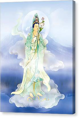 Canvas Print featuring the photograph Lotus-holding Kuan Yin by Lanjee Chee