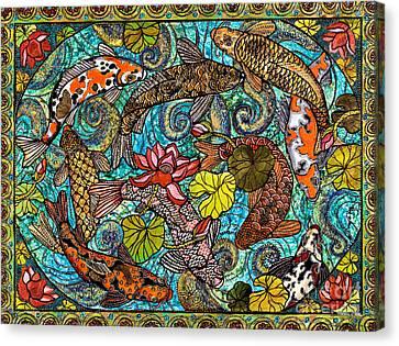 Lotus Koi Pond Canvas Print by Melissa Cole