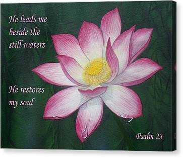 Lotus Lily Psalm Twenty Three Canvas Print