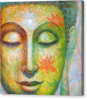 Canvas Print featuring the painting Lotus Meditation Buddha by Sue Halstenberg