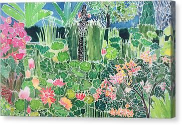 Lotus Pond Ubud Bali Canvas Print by Hilary Simon