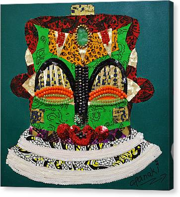 Canvas Print featuring the tapestry - textile Lotus Warrior by Apanaki Temitayo M