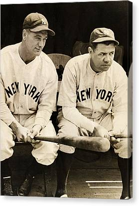 Gehrig Canvas Print - Lou Gehrig And Babe Ruth by Bill Cannon