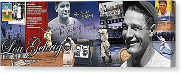 Gehrig Canvas Print - Lou Gehrig Panoramic by Retro Images Archive