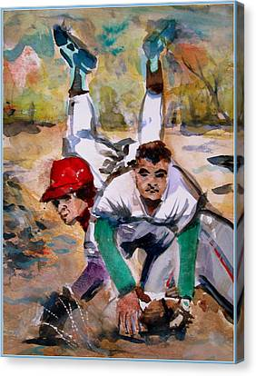 Lou Whitaker And Cal Ripken In Double Play Canvas Print by Mindy Newman