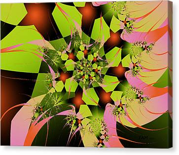 Canvas Print featuring the digital art Loud Bouquet by Elizabeth McTaggart