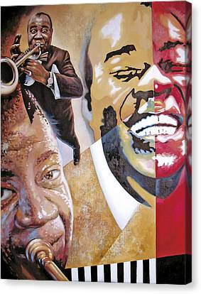 Canvas Print featuring the painting Louis Armstrong by Dmitry Spiros