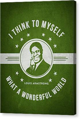 Louis Armstrong - Green Canvas Print