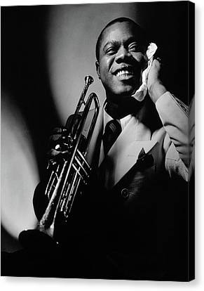 Pose Canvas Print - Louis Armstrong Holding A Trumpet by Anton Bruehl