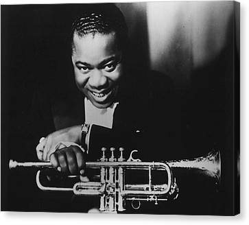 New Stage Canvas Print - Louis Armstrong Holding Trumpet by Retro Images Archive