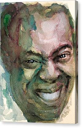 Canvas Print featuring the painting Louis Armstrong by Laur Iduc