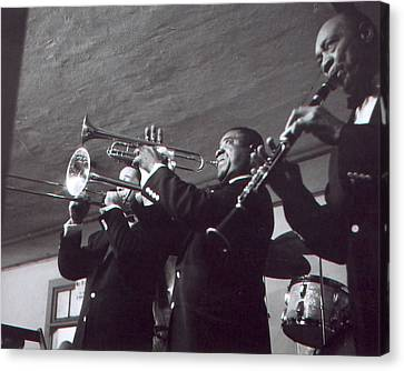Louis Armstrong Playing The Trumpet With Band Canvas Print by Retro Images Archive