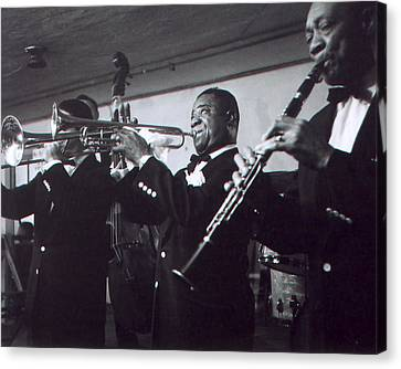 New Stage Canvas Print - Louis Armstrong Playing With The Band by Retro Images Archive