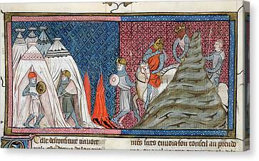 Louis Vii Reaches The Camp Canvas Print by British Library