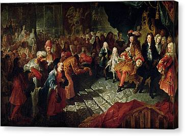 Diplomacy Canvas Print - Louis Xiv 1638-1715 Receiving The Persian Ambassador Mohammed Reza Beg In The Galerie Des Glaces by Antoine Coypel