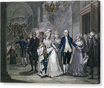 Louis Xvi 1754-93 Bidding Farewell To His Family, 20th January 1793, Engraved By Reinier Vinkeles Canvas Print by French School