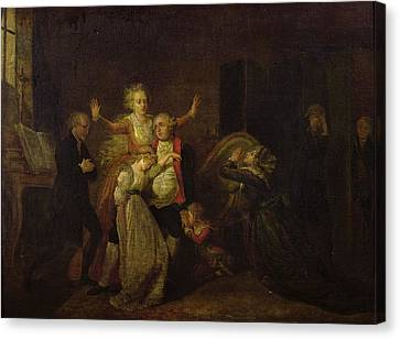 Louis Xvi 1754-93 Bidding Farewell To His Family At The Temple, 20th January 1793 Oil On Canvas Canvas Print by Charles Benazech