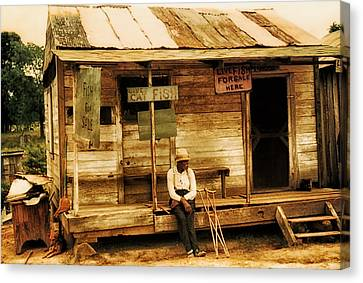 Crutch Canvas Print - Louisiana Fish Shop In 1940 by Mountain Dreams