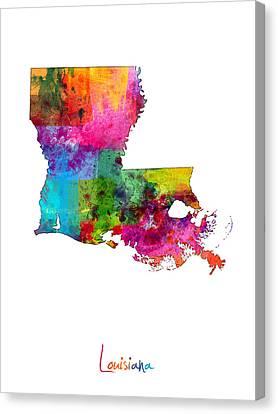 Louisiana Map Canvas Print by Michael Tompsett