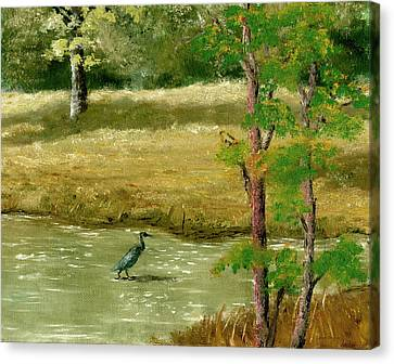 Canvas Print featuring the painting Louisiana Pond With Heron by Lenora  De Lude
