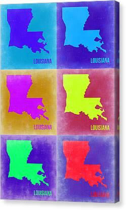 Louisiana Pop Art Map 2 Canvas Print by Naxart Studio