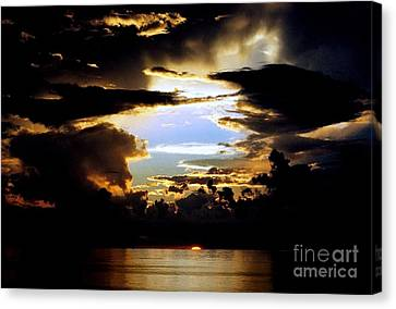Canvas Print featuring the photograph Louisiana Sunset Blue In The Gulf  Of Mexico by Michael Hoard