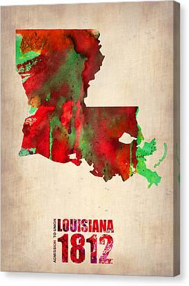 Louisiana Watercolor Map Canvas Print by Naxart Studio